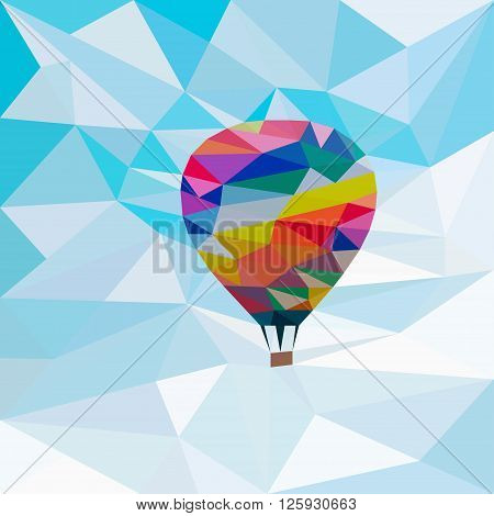 Colorful aerostat in the sky background in the style of triangulation