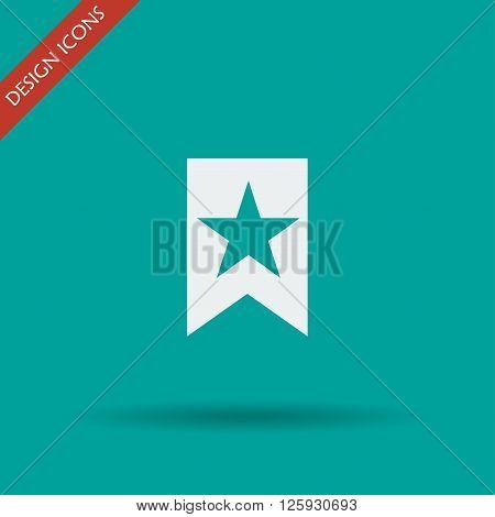 Flat Icon Vector Web Bookmark Ribbon Icon
