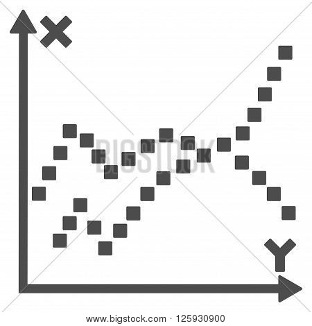 Functions Plot vector toolbar icon. Style is flat icon symbol, gray color, white background, square dots.
