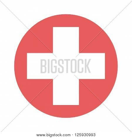 White cross in red circle isolated. Medical hospital medicine ambulance aid and healthcare concept. EPS 8 vector illustration no transparency