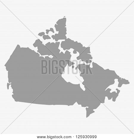 Map Of Canada In Gray On A White Background