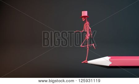 3D illustration of a skeleton asking for charity