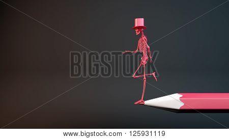 3D illustration of a skeleton asking for charity