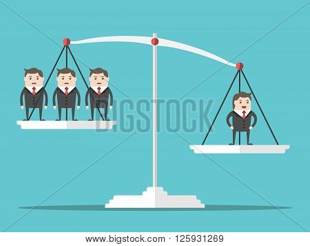 One positive happy successful man outweighing many people on scales. Flat style. Business success businessman and leadership concept. EPS 8 vector illustration no transparency
