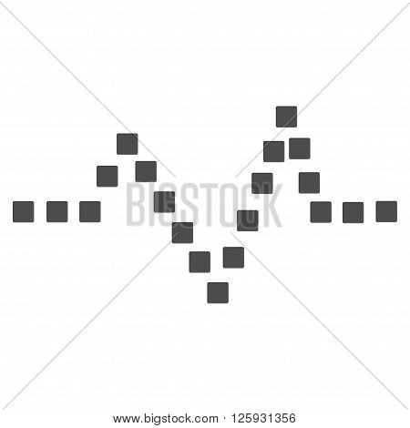 Pulse Chart vector toolbar icon. Style is flat icon symbol, gray color, white background, square dots.