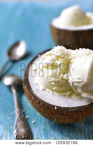 Ice Cream In A Coconut.