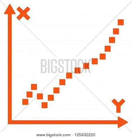 Function Plot vector toolbar icon. Style is flat icon symbol, orange color, white background, square dots.