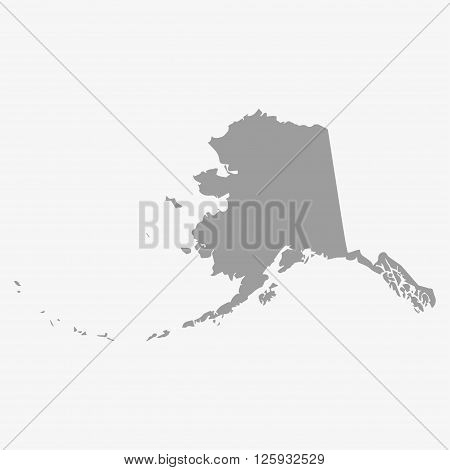 Map the State of Alaska in gray on a white background
