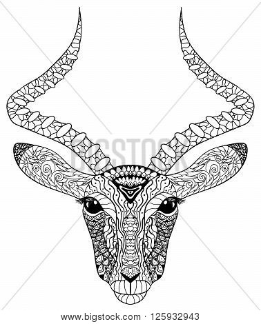Adult coloring page for antistress art therapy. Head of the antelope in zentangle style. Zendoodle template for t-shirt, tattoo, poster or cover. Vector illustration.