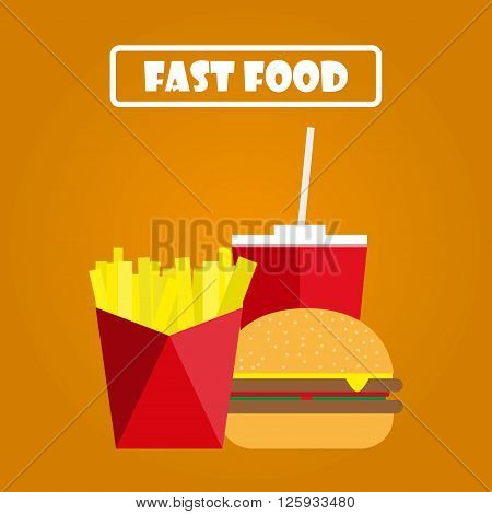 Fries hamburger and soda on an orange background. Fast food