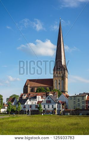 View to a church in Rostock (Germany).
