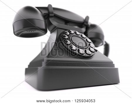 Black retro phone closeup isolated on white background 3d