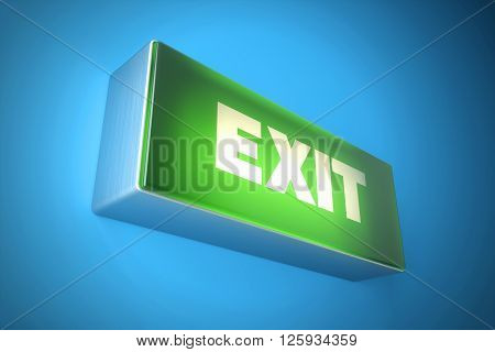 Exit signboard light. Fire exit sign 3d illustration