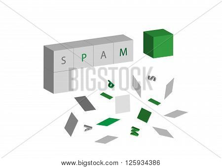 icon spam. Cubes with the word spam and the electronic flying garbage