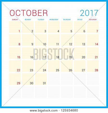 Calendar Planner For 2017 Year. Vector Flat Design Template. October. Week Starts Sunday. Stationery