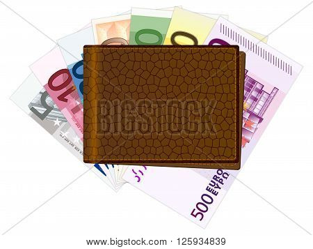 Wallet with euro bank notes on a white background. Vector illustration.