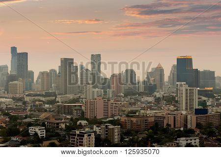 Aerial view cityscape view of Bangkok city downtown, Thailand