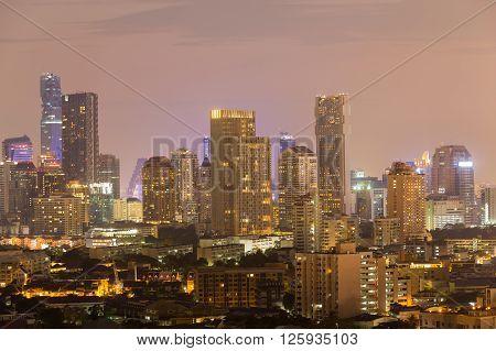 Twilight over business buildings cityscape, city centre downtown