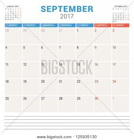 Calendar Planner For 2017 Year. Vector Design Template. September. Week Starts Monday. Stationery De