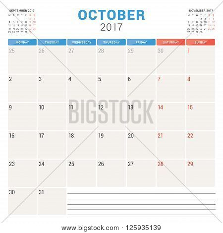 Calendar Planner For 2017 Year. Vector Design Template. October. Week Starts Monday. Stationery Desi