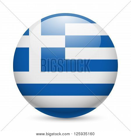 Flag of Greece as round glossy icon. Button with Greek flag