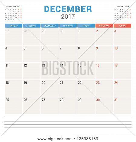 Calendar Planner For 2017 Year. Vector Design Template. December. Week Starts Monday. Stationery Des