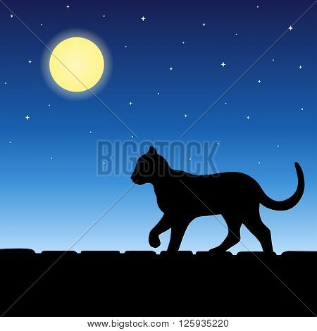 Cat animal on roof silhouette blue night moon illustration vector