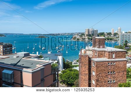 Sydney Australia - November 7 2014: The view of Sydney harbor from high up in the Macleay Hotel Sydney.