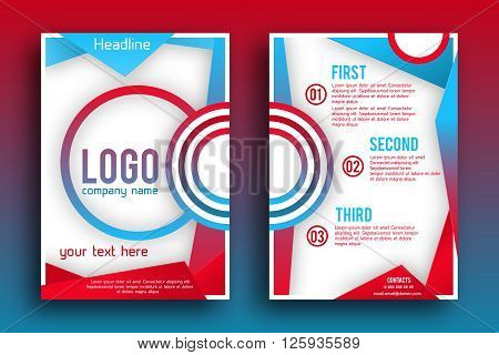 Vector Brochure design Layout  template, size A4, Front page and back page, material style poster. Magazin page.