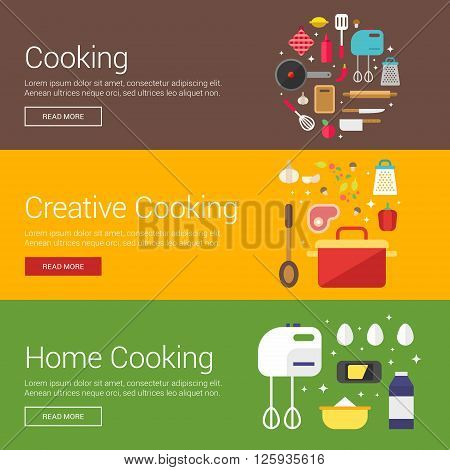 Cooking. Creative Cooking. Home Cooking. Flat Design Vector Illustration Concepts for Web Banners and Promotional Materials