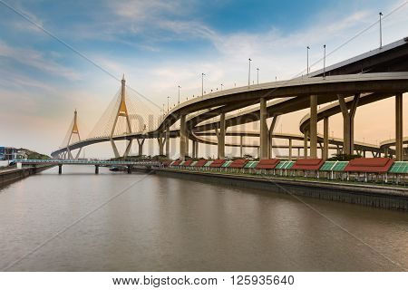 Industrial Ring Road Bridge cross Chao Phraya River during sunset, Bangkok Thailand