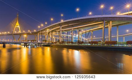 Bhumibol suspension Bridge in Thailand, also known as the Industrial Ring Road Bridge, in Thailand. The bridge crosses the Chao Phraya River at twilight.