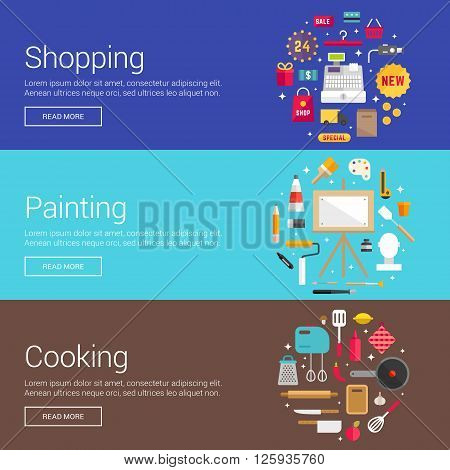 Shopping. Painting. Cooking. Flat Design Vector Illustration Concepts for Web Banners and Promotional Materials