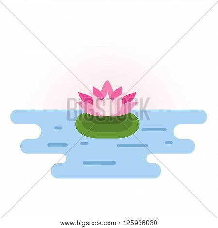 Pink Lotus at pond. Small location pink lotus icon in blue water. Lotus design element. Lotus symbol. Flat vector illustration.