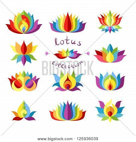 Rainbow Lotuses Collection. Colorful lotus icon different variations. Trendy lotus isolated design element. Lotus symbol. Lotus icon. Flat vector illustration.
