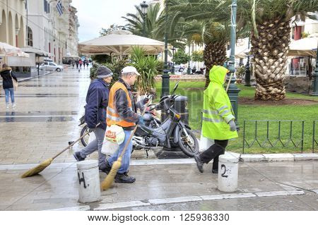 THESSALONIKI GREECE - March 14.2016: Workers of the municipal city service on the Aristotle Street