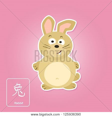Stock vector icons with rabbit and chinese zodiac sign for your design
