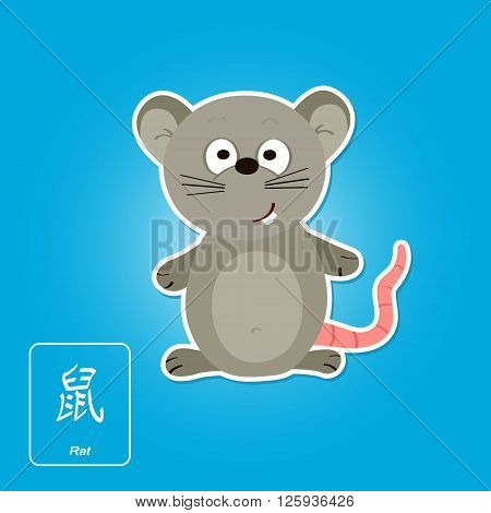 Stock vector icons with rat and chinese zodiac sign for your design