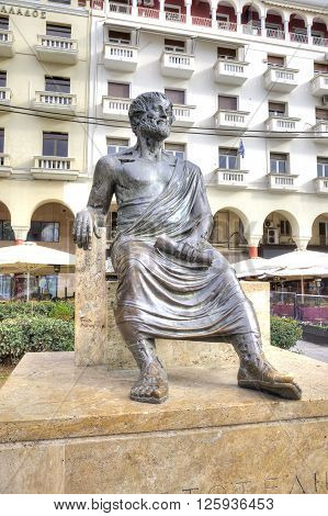 THESSALONIKI GREECE - March 17.2016: Main sight of city. The sculpture of the ancient Greek philosopher Aristotle in the historic center of the city on the Aristotelous Square