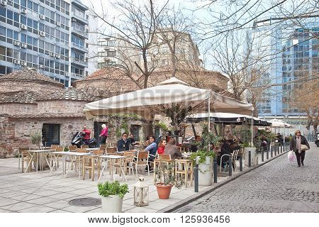 THESSALONIKI GREECE - March 17.2016: Little Tavern in the historic part of the city next to the old Orthodox church