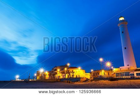 Night at Punta Secca Beach with the lighthouse and the watchtowerTorre Scalambri in Santa Croce Camerina Sicily Italy