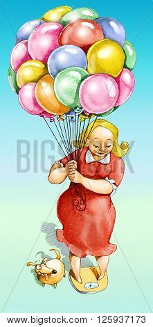 a woman weighing herself on a scale holding many balloons to sound lighter