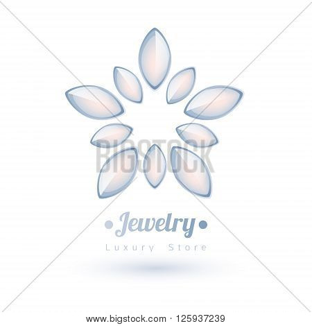 White gemstones jewelry symbol. Star or flower shape. Pearls on white background.
