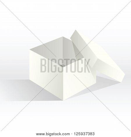 Empty white box. Mock-up empty realistic paper cardboard gift favor box packaging template with light shadows. Vector illustration.