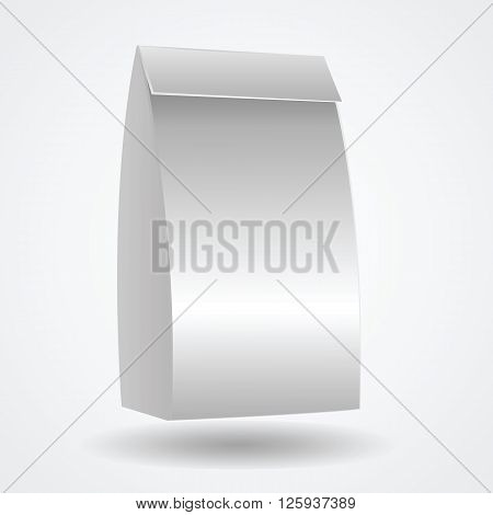 Blank paper bag. Mock-up empty realistic white paper bag with light shadows. Copy space. Vector illustration.