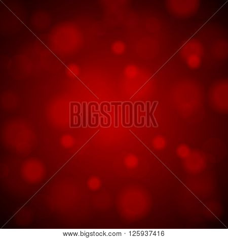 Abstract Blurred Background Of Red Shiny Christmas Tree Decorations. Vector Illustration