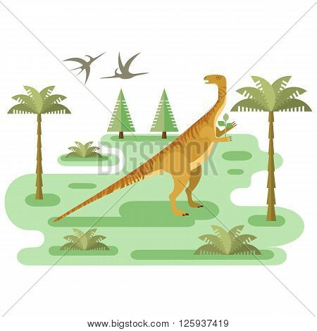 Large Plateosaurus. Prehistoric herbivore dinosaur with pristine landscape. Extinct animal. Small location for map or game. Flat vector illustration.