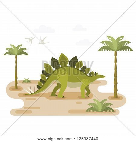 Large walking stegosaurus. Prehistoric herbivore dinosaur with pristine landscape. Extinct animal. Small location for map or game. Flat vector illustration.