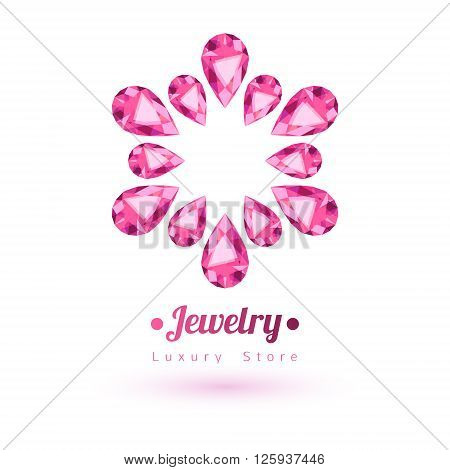 Pink gemstones jewelry symbol. Star or flower shape. Rubies on white background.