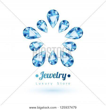 Blue gemstones jewelry symbol. Star or flower shape. Sapphire on white background.